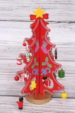 Елка (С) новогодняя красная с игрушками в коробке h=16см