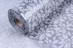 Фетр Ламинированный 50см*10м Листочки серый  (Н)