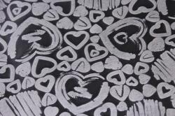 Фетр Ламинированный 50см*10м Сердечки белый  (Н)