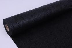 Фетр выбитый  50см 10м,  Цветы - черный (Н)
