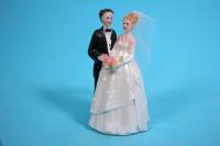 """Фигурки Жених и Невеста на торт """"Классика"""" малые С букетом h=9см"""