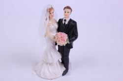 Фигурки Жених и Невеста на торт - Невеста с букетом платье с воланами h=10см