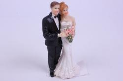 Фигурки Жених и Невеста на торт - Невеста с букетом в платье тюльпан h=10см