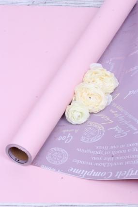 "Флорист. пленка ""Письма Незнакомке"" с голографией, 65 мкр, 58 см х 10 м, роз. / сиреневый 5136М"