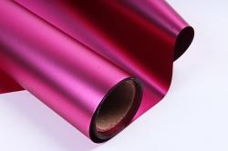 Флористическая пленка, металлическая, 58 см х 5 м, Розовый (М)