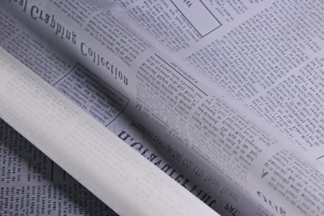 """Флористическая пленка """"Новости"""", 58 см х 5 м, Белый (М)"""