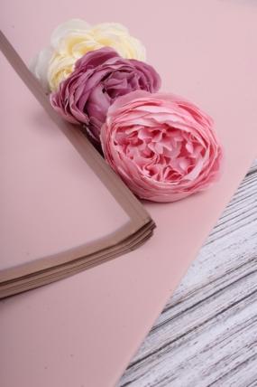 Флористическая пленка с золотой каймой, 58 см х 58 см, 20 листов/упак., серо-розовый 4059М