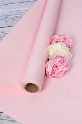 """Флористическая пленка """"Сердечкин"""", 65 мкр, 58 см х 10 м, розовый 9134М"""