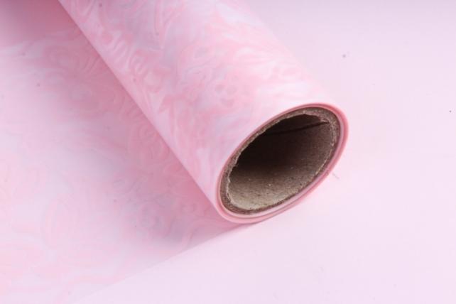 Флористическая  матовая пленка с окантовкой, 60 см х 5 м, Розовый