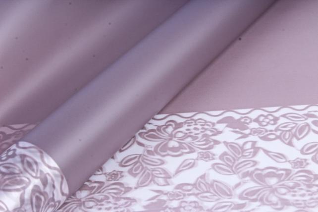 Флористическая  матовая пленка с окантовкой, 60 см х 5 м, Сиреневый