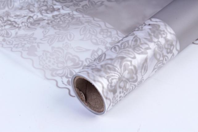Флористическая  матовая пленка с окантовкой, 60 см х 5 м, Сливовый