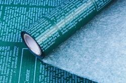 "Флористический Пергамент ""Газета"", 50cm*10m, (Белый на зеленом, WXP-42) (М)"