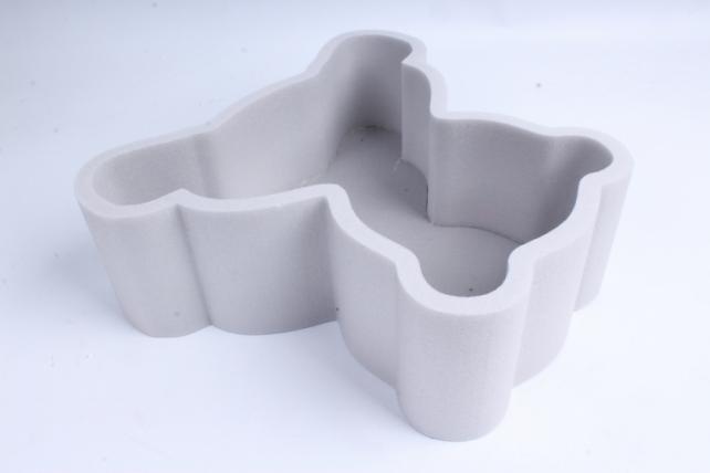 Форма-коробка пенопласт для цветов Мишка (графитовый)