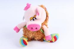 Мягкая игрушка (У) Поросёнок в  шубе (разноцветные валенки) 17см  Д-19416/17