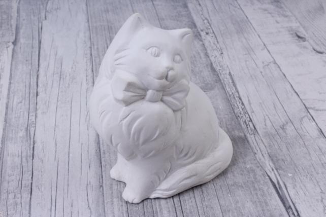 Гипсовая фигурка Кошка с бантом 10см, Арт. П-14 (1шт в уп)