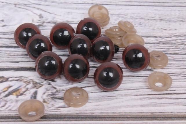 Глазки d=14мм с креплением коричневые (10шт в уп)
