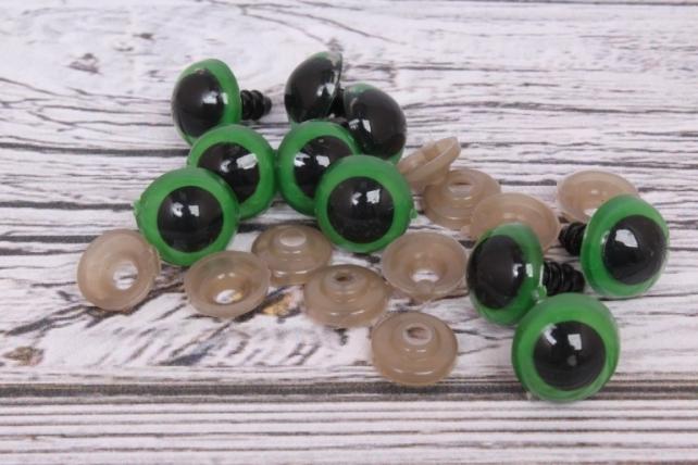 Глазки d=14мм с креплением зеленые (10шт в уп)