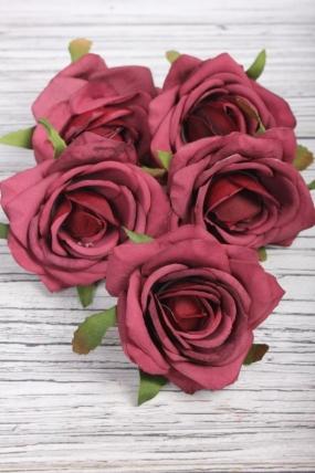 Головка Розы 7*4 см бордо (5 шт в уп) 9KW7738-1
