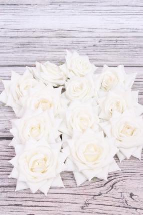 Головка Розы 7 см матовая белая (12 шт в уп) 20KL0045-1