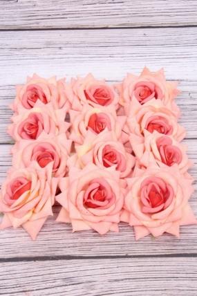 Головка Розы 7 см матовая коралловая (12 шт в уп) 20KL0045-5