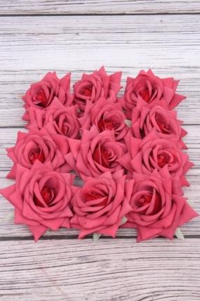 Головка Розы 7 см матовая марсала (12 шт в уп) 20KL0045-7