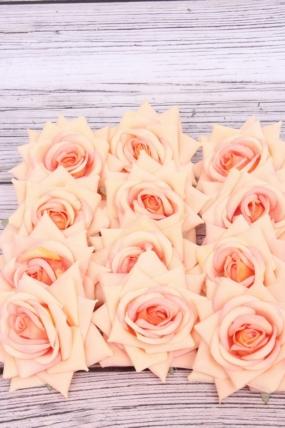Головка Розы 7 см матовая персиковая (12 шт в уп) 20KL0045-4