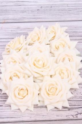 Головка Розы 7 см матовая ванильная (12 шт в уп) 20KL0045-1