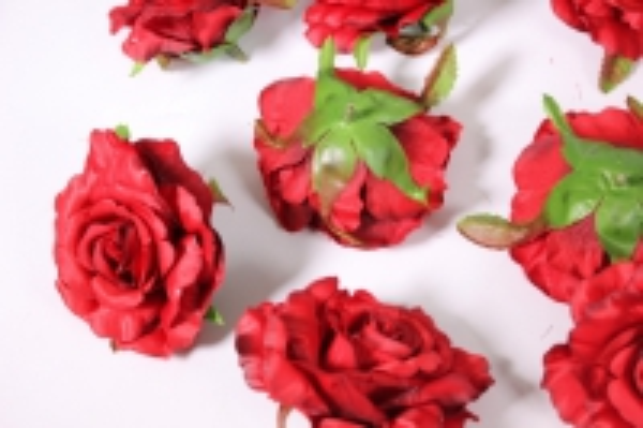 головка розы бордовый ( в уп. 12 шт) d=9см sun507