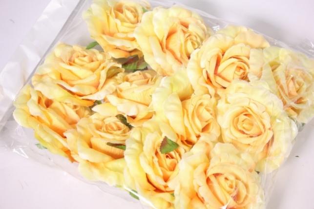 головка розы желто-оранжевый ( в уп. 12 шт) d=9см sun507