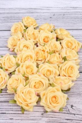 Головка Розы жёлтые ( в уп. 24 шт) №3 d=5см  ART117