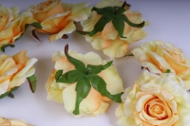 головка розы желтые (в уп. 12 шт) d=9см sun507 17658-8