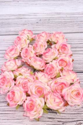 Головка Розы Крем/ярко-розовые ( в уп. 24 шт) №12 d=5см  ART117