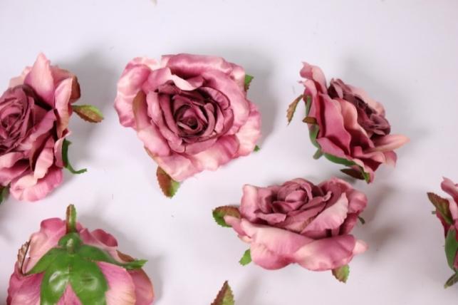 Головка Розы Лиловые ( в уп. 12 шт) d=9см SUN507