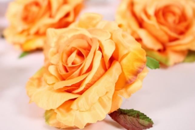 головка розы оранжевый ( в уп. 12 шт) d=9см sun507