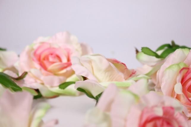 головка розы розово-салатовый ( в уп. 12 шт) d=9см sun507