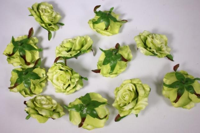 головка розы салатовые ( в уп. 12 шт) d=9см sun507
