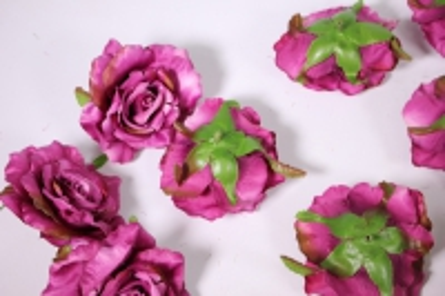головка розы сливовый ( в уп. 12 шт) d=9см sun507