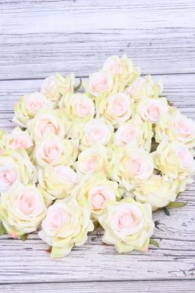 Головка Розы светло-розово/светло-зелёные ( в уп. 24 шт)  d=5см  ART117