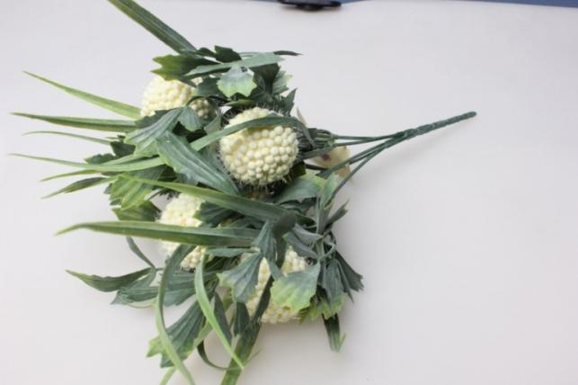 гортензия белая мини ветка - искусственные растения 30см 1499