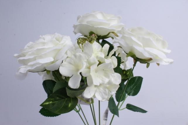 гортензия-роза букет 43 см белый liu355