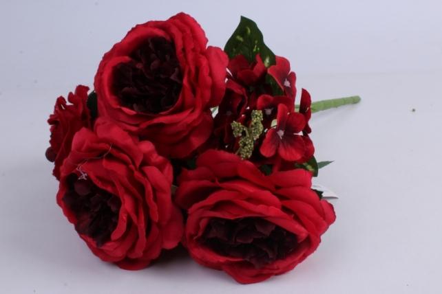 гортензия-роза букет 43 см красный liu335