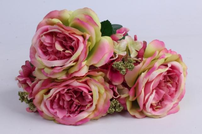 гортензия-роза букет 43 см салатово-малиновый liu355