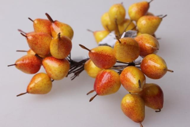 Груша желто-красная 2см (12 пучков по 12 шт) искусственные фрукты