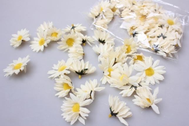Хризантема кремовая (головки) 3,5см (60шт в уп) 3145