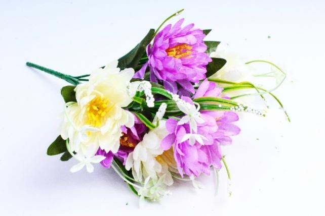 Хризантема с декором бело-сиреневые