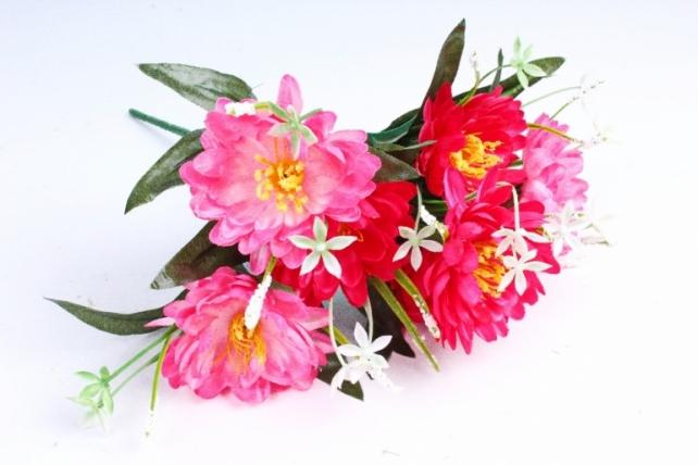 Хризантема с декором малиновая