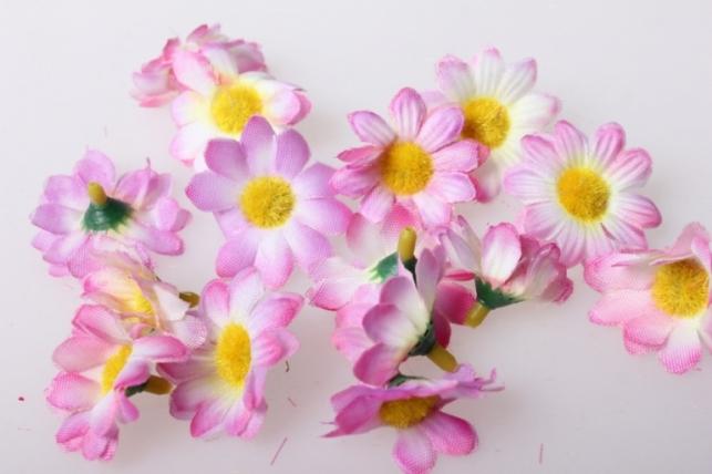 Хризантема ярко-розовая цветная 3,5см (60шт в уп) 9620
