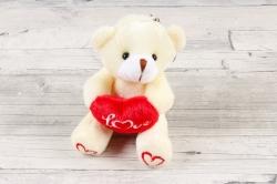 Игрушка для букета (АС) - Мишка с Сердцем шампань
