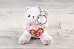 Игрушка для букета (АС) - Мишка с Сердцем ткань белый