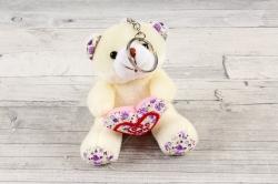 Игрушка для букета (АС) - Мишка с Сердцем ткань шампань